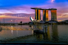 SINGAPORE CITY, SINGAPORE: Sep 29,2017: Singapore Skyline. Singapore`s business district, marina bay sand and the garden by the b. Ay on sunset royalty free stock images