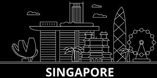 Singapore silhouette skyline. China - Singapore vector city, chinese linear architecture, buildings. Singapore travel stock illustration