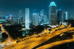 Singapore city. Skyline. Aerial view to illuminated city at night stock photography