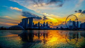 SINGAPORE CITY, SINGAPORE : Feb 12,2018: Singapore Skyline. Singapore`s business district, marina bay sand and the garden by the b stock footage