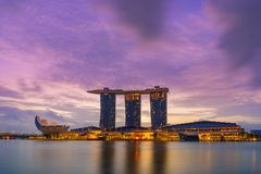 View Of Marina Bay sands at night in Singapore Royalty Free Stock Photos
