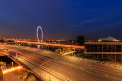 Singapore City and Singapore Flyer seen from Marina Bay Sands Royalty Free Stock Photography