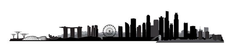 Singapore city, Singapore. Urban skyline with skyscraper buildings. Singapore city, Singapore. Urban skyline with landmarks and skyscraper buildings silhouette Royalty Free Stock Photos