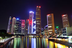 Singapore city skyline. At night Stock Images