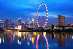 Singapore city skyline. At night Royalty Free Stock Images