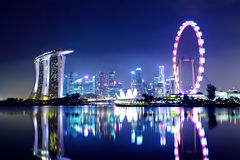 Singapore city skyline. At night Stock Photo