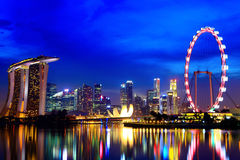 Singapore city skyline. At night Royalty Free Stock Photos