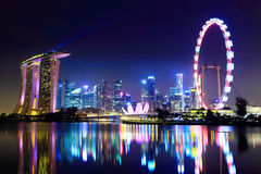 Singapore city skyline. At night Stock Image