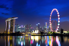 Singapore city skyline. At night Stock Photography