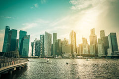 Singapore city skyline of business district downtown in daytime. Stock Photos