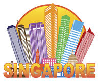 Singapore City Skyline Circle Color Illustration Royalty Free Stock Image