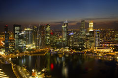 Singapore City Skyline at Dusk Stock Photography
