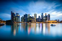 Singapore city skyline at dusk, Singapore Stock Photo