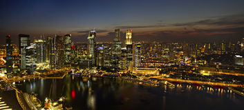 Singapore City Skyline at Dusk Panorama Royalty Free Stock Images