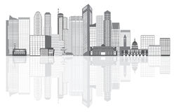 Singapore City Skyline Grayscale with Reflection Illustration Royalty Free Stock Image