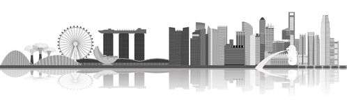 Singapore city skyline illustration. Illustration of Singapore city skyline view at Marina Bay Stock Images