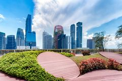 Singapore city. Skyline landscape at blue sky. Business Downtown district. Urban skyscrapers cityscape stock image