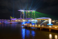 Singapore city skyline and laser show Royalty Free Stock Image