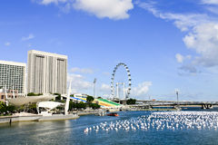 Singapore City Skyline at Marina Bay Stock Image