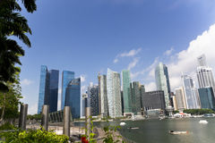 Singapore City Skyline at Marina Bay Royalty Free Stock Images