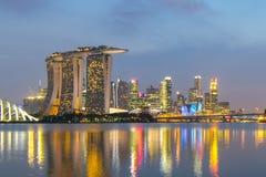 Singapore City Skyline at Marina Bay during sunset Stock Photo