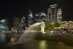 Singapore City Skyline at Merlion Park Stock Images