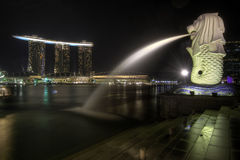 Singapore City Skyline at Merlion Park 2 Stock Photos