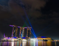 Singapore city skyline at night Royalty Free Stock Images