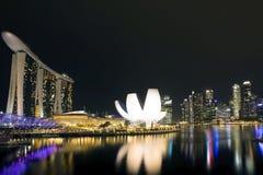 Singapore city skyline at night Royalty Free Stock Images