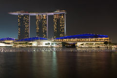 Singapore city skyline at night Stock Photos