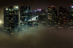 Singapore city skyline at night with heavy smog Royalty Free Stock Photography