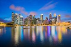 Singapore city skyline at night by Marina bay Royalty Free Stock Photos