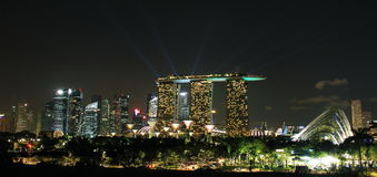 singapore city skyline at night Royalty Free Stock Photography
