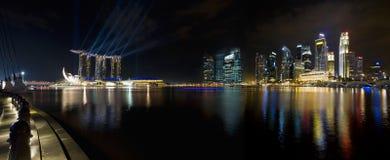 Singapore City Skyline at Night Panorama. Singapore City Skyline by the Esplanade at Night Panorama Royalty Free Stock Photo