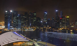 Singapore city skyline at night. Panoramic view of Singapore city skyline illuminated at night Stock Photography