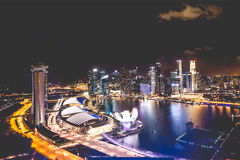 Singapore city skyline at night and view of Marina Bay Top View stock image