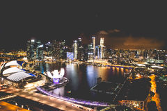 Singapore city skyline at night and view of Marina Bay Top View royalty free stock photo