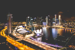 Singapore city skyline at night and view of Marina Bay Top View. Asia Stock Image