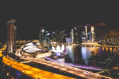 Singapore city skyline at night and view of Marina Bay Top View Stock Photos