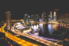 Singapore city skyline at night and view of Marina Bay Top View royalty free stock photography