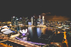 Singapore city skyline at night and view of Marina Bay Top View royalty free stock photos