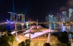 Singapore city skyline at nigt Stock Image