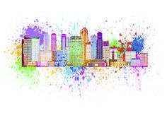 Singapore City Skyline Paint Splatter Color Illustration Royalty Free Stock Image