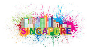 Singapore City Skyline Paint Splatter Vector Illustration. Singapore City Skyline Silhouette Outline Panorama Color with Text and Paint Splatter Abstract Stock Photo