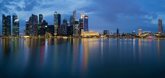 Singapore City Skyline Panorama at Twilight. Singapore City Skyline along Singapore River Panorama at Blue Hour Stock Photography