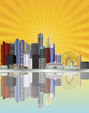 Singapore City Skyline with Sun Rays Illustration Stock Images