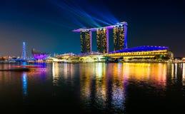 Singapore city skyline at sunset. Stock Photo