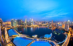 Singapore city skyline after  sunset. Stock Photo