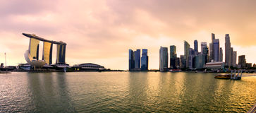 Singapore city skyline at sunset. Royalty Free Stock Image