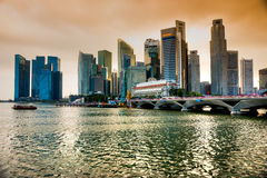Singapore city skyline at sunset. Stock Image